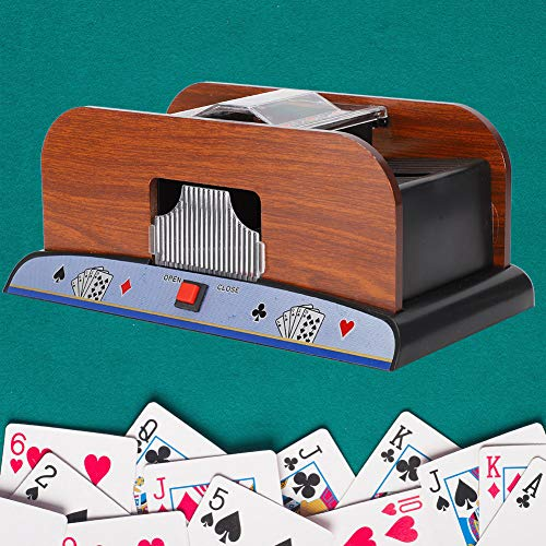 chh bridge playing cards Automatic Card Shuffler,Professional Battery-Operated Electric Shuffler Portable Casino Wooden Playing Card Shuffler Machine, for the elderly Easy Shuffle,for Poker Deck/Playing Cards,Manual, Bridge