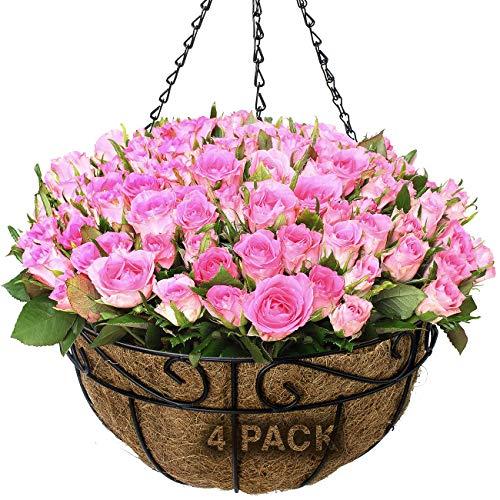 Sorbus 4 Pack Metal Hanging Planter Basket Huge 14 Inch Hanging Flower Pot Basket & Coco Coir Liner for Indoor/Outdoor Garden D