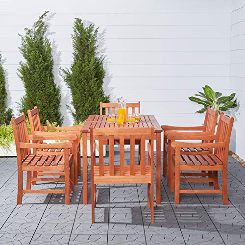 Vifah V98SET12 Red Brown 7-Piece Wood Patio Dining Set