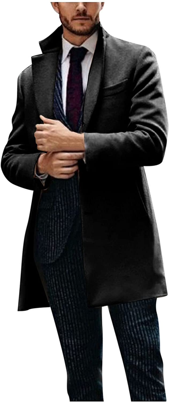 Men's Long Cardigan Fashion Casual Plaid Print Wool Long Sleeve Turn-Down Collar Coat Winter 2021