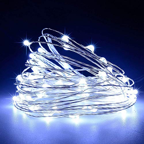 LiyuanQ Battery Operated String Lights, Led Mini Fairy String Lights 50 LED 16.5 FT Battery Powered Sliver Wire Starry Fairy Lights for Indoor Outdoor Wedding Home Garden Party Decor (Cool White)