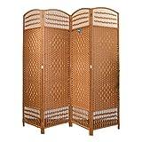 Biombo Ratán Separador de Ambientes 4 Paneles 200x180 cm (Largo x Alto) Color Chocolate. Incluye 1 Unidad