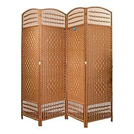 Paravent en rotin séparateur d'ambiance 4 panneaux 200 x 180 cm (longueur x hauteur) couleur chocolat. Contenu : 1 unité…