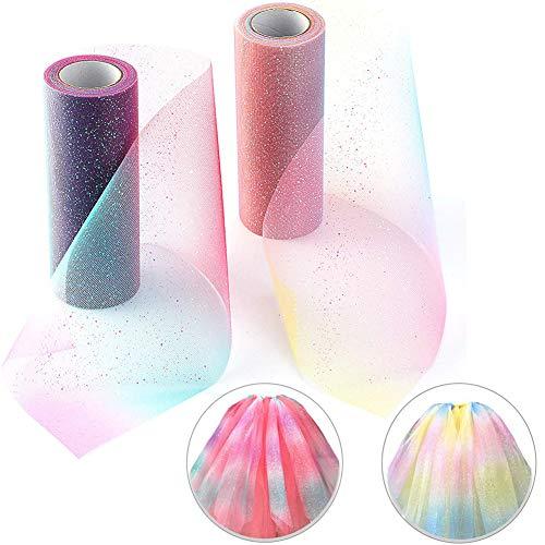 BESTZY 2PCS tüll stoff geschenkpapier rosa Tüll Rolle Tutu Ballettrock Hochzeit Party Crafts Geschenk Tüllband Rollenspule(Regenbogen)