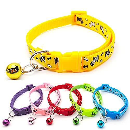 6 collares de gato para gato, campana, collar de gato, etiquetas antipérdidas, rojo, amarillo, morado, rosa, azul cielo, polipropileno, ancho 1,0 cm, ajuste: 19-32 cm