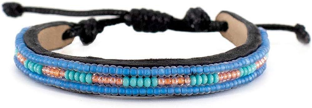 Jewelry Bracelets for Men  Women, Adjustable Leather Tribal Bea