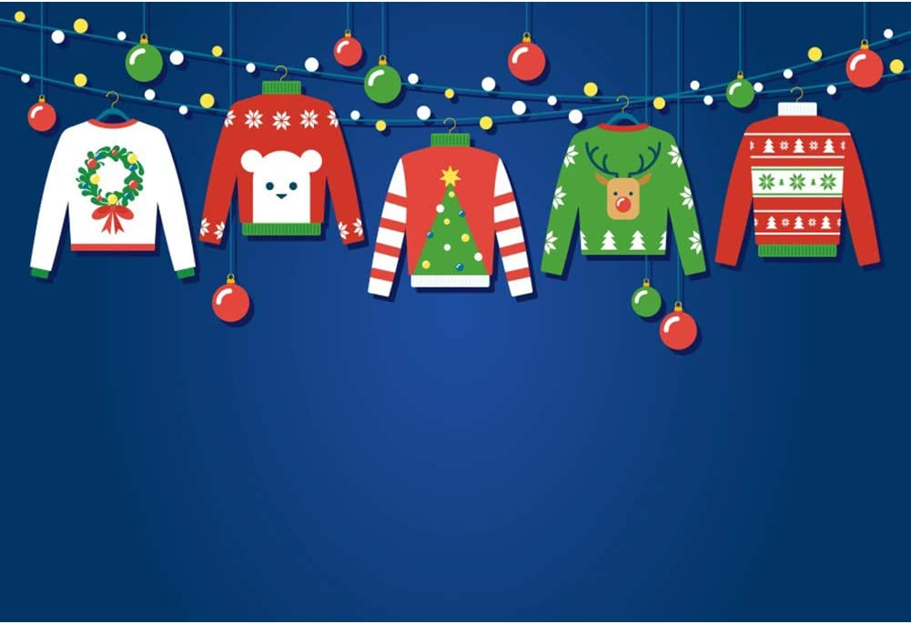 Laeacco Ugly Sweater Party Large-scale sale Backdrop 8x6.5ft Merry Reservation Christmas Blue
