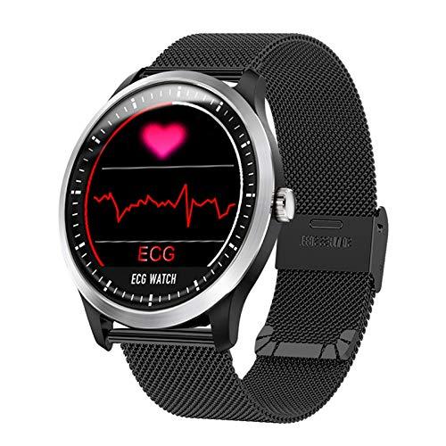 SJUTALR Orologio Sportivo Smartwatch ECG PPG con Display ECG per elettrocardiografo Display Holter per Pressione cardiaca Holter ECG Smartwatch, Acciaio Argentato