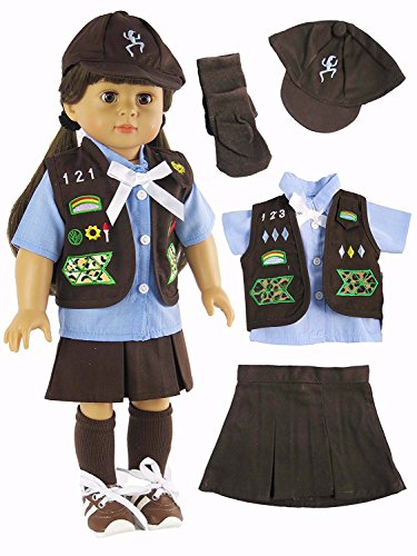 American Fashion World Brownie Girl Scout Uniform Outfit made to fit 18 inch dolls such as American Girl Dolls