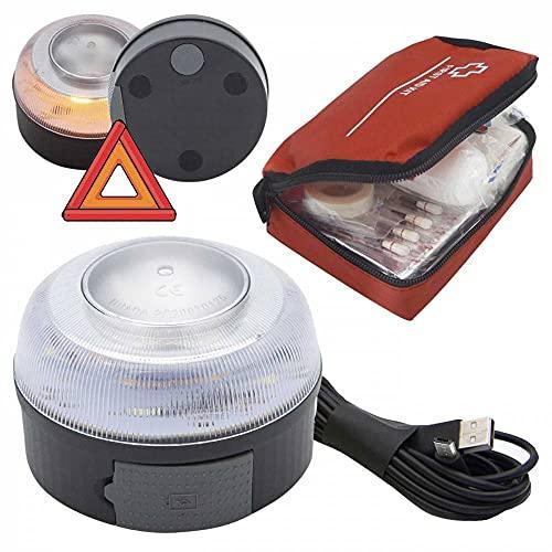 AUTO LABEL Luz Emergencia V16 Recargable Homologada DGT, Base Magnética, Señal V16 + Botiquín Prime