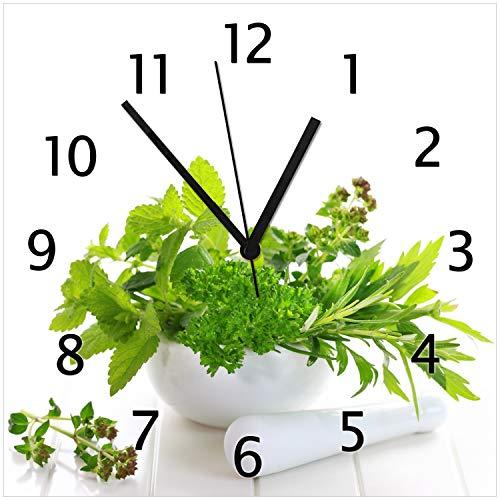 Wallario Glas-Uhr Echtglas Wanduhr Motivuhr • in Premium-Qualität • Größe: 30x30cm • Motiv: Welt der Kräuter - Verschiedene Kräuter in einem weißen Mörser
