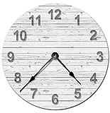 DKISEE PT151 - Orologio da parete in legno bianco, silenzioso, non ticchettio, decorativo, rotondo, per casa, ufficio, scuola, decorazione da 30 cm