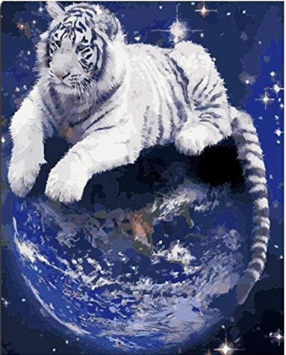Peinture par Numéro Adulte Enfant Seniors Débutants Blanc tigre terre Peinture à l'huile Bricolage sur Toile avec Brosses et Peintures Décorations Cadeaux, 40x50cm Sans Cadre