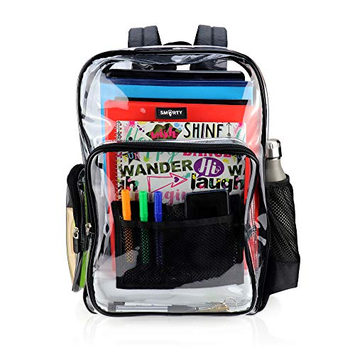 Large Clear Backpack Heavy Duty Durable Military Nylon Clear Bookbags Transparent See Through...