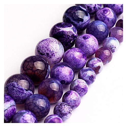 HETHYAN Cuentas redondas de piedra natural de ágata de 6 a 8 de 10 mm de 15 pulgadas para hacer joyas y hacer pulseras de bricolaje (tamaño: 10 mm)