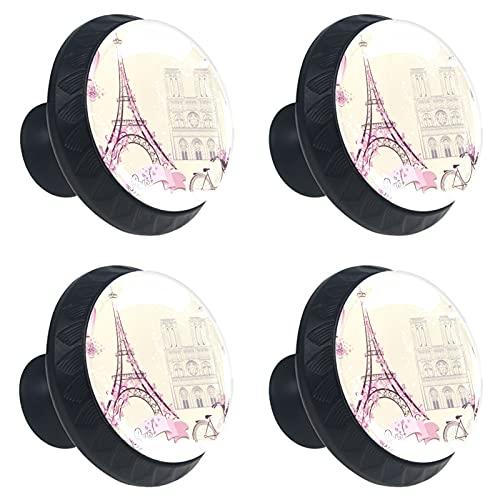 FURINKAZAN Manija armario de cocina pomos puerta cajón armario tirador de la manija ropa gancho moderno simple vintage retro Paris Torre Eiffel bicicleta