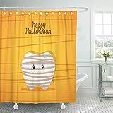 N\A Cortina de Ducha Decorativa Naranja Dental Halloween con Diente Momia egipcia Linda para niños Odontología Cortinas de baño a Prueba de Moho Resistentes al Agua Set con Ganchos