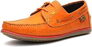 HITZ Tan Leather Boat Shoes for Men