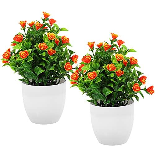 BESPORTBLE 2 Piezas Artificial en Maceta Rosa Falsa Maceta Planta Falsa Rosa Plantas Flores de Seda Arreglo para La Decoración de La Mesa de La Oficina en Casa