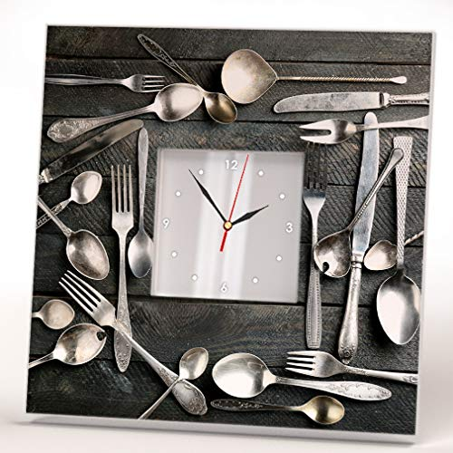 Wall Clock Framed Mirror Silverware on Wooden Background Spoon Fork Knife Cook Food Fan Art CafeDecor Home Design Gift