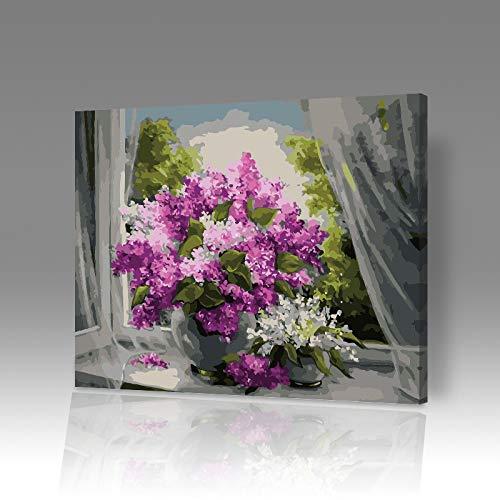 DIY digitale olieverfschilderij vullen kleur schilderij olieverfkit creatieve huis vensterbank cartoon landschap bloem 6877 Frameloze 40x50cm