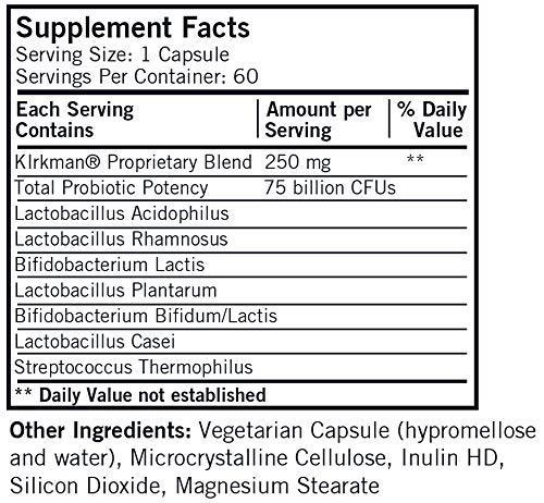 Kirkman Super Pro-Bio™ 75 Billion | 60 Vegetarian Capsules - Bio-Max Series - Hypoallergenic | probiotic
