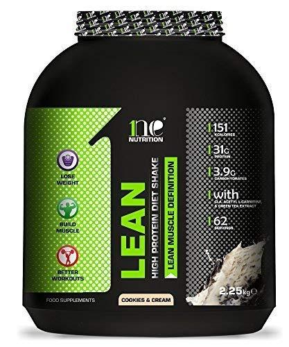 1ne Nutrition Lean Diet Fuel 2.25kg Ultralean Weight Control Meal Replacement Shake Protein Powder (Cookies & Cream)
