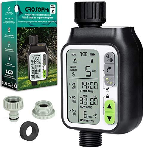 CROSOFMI Irrigatore Giardino Programmatore Centralina Computer Timer per Irrigazione Batteria Automatico Controllo Manuale Sensore Pioggia Impermeabile e 3 Programmi di Irrigazione Separati