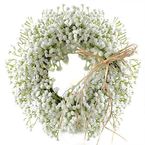 FEEE-ZC Floral Artificial Babysbreath Wreath Door Hanging Wall Window Decoration Wreath Party Home Holiday Festival Wedding Decor Wreath (Color : White, Diameter : 30cm)