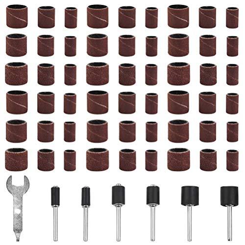 YANSHON 307 Stück Schleifaufsatz, Schleifhülsen und Schleifwalzen, Schleifbändern, Schleifhülsen Set für Holz, Metall, Drum Sander Set