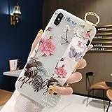 Dmtrab pour Huawei Mate 20 Pro Case, Motif de Fleurs Sangle de Poignet Soft TPU Coque de Protection...