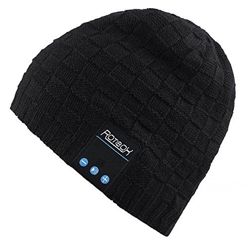 Mydeal Washable Winter Men Women Hat Bluetooth Beanie Running Cap with Bluetooth Stereo Headphones Mic Hands Free Rechargeable Battery Compatible with iPhone Android Tablets