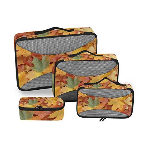 CPYang - Juego de 4 Cubos de Embalaje de Hojas de Arce otoñales, organizadores de Viaje, Bolsa de Almacenamiento de Malla para Maleta