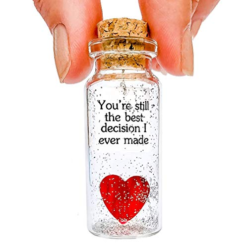 Heart and Message in a Bottle Love Present, Romantic Decoration for Boyfriend or Girlfriend, Anniversary Wish Jar with Card (Heart in a Bottle, You're Still the Best Decision I Ever Made)