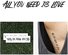 Tattify Beatles Lyrics Temporary Tattoo - Love Love Love (Set of 2) - Other Styles Available - Fashionable Temporary Tattoos - Long Lasting and Waterproof