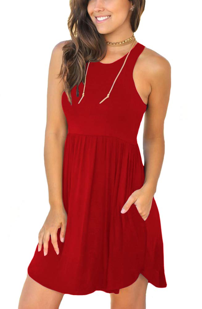 Red Dress - Women Long Sleeve Loose Plain Maxi Pockets Dresses Casual Long Dresses