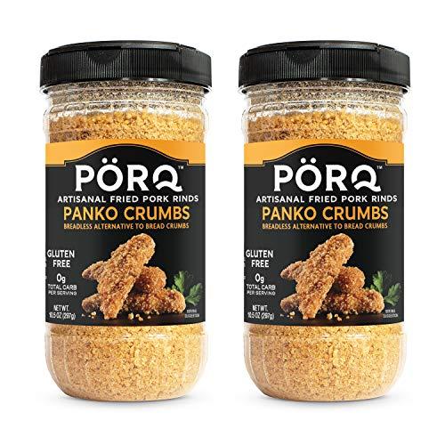 PÖRQ Artisanal Fried Pork Rinds Panko Crumbs, 10.5 oz., Zero Carb Bread Crumb Alternative, 2 Count