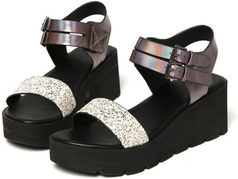 NVLXIE Frauen Sandalen Sommer Poe in und Thick Bottom Bottom Bottom Sequins Römische Schuhe Studenten Komfortable Zauber Farbe  359689