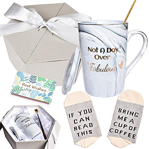Not A Day Over Fabulous Marbling Coffee Mug, Birthday Gifts for Women, Girlfriend, Wife, Mom, Coworkers, Daughter, Sister, Aunt, 13 oz, Grey(1 Pack)