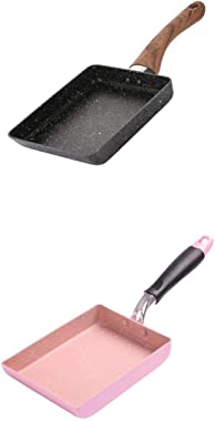 "LOVIVER 2 Pcs Aluminum Non-Stick Fry Pan Skillet Breakfast Cookware Pink&Black 5""x7"""