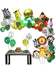 Jungle Zoo Safari Party Supplies Decoration Kit-Latex Balloons, Animal Foil Balloons, Green Palm Leaves for Forest Wild Animal Birthday Kids Boys Girls Baby Shower Decor