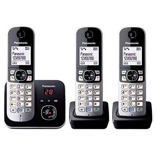 Panasonic KX-TG6823GB DECT Schnurlostelefon mit Anrufbeantworter (3 Mobilteile, strahlungsarm, Eco-Modus, GAP Telefon, Festnetz) schwarz