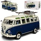 Volkwagen T1 Samba Wintersport mit Ski Blau Weiss Personen Transporter 1950-1967 1/18 Schuco Modell Auto mit individiuellem Wunschkennzeichen