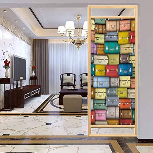 PikaQ Non-AdhesiveGlassFilmsAntiUv, Modern Colorful Suitcases Background Vintage Travel Voy, Home Window Tint Film Heat Control, W17.7xH35.4 Inch
