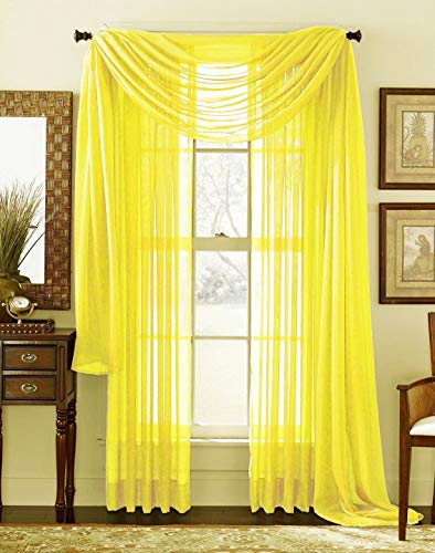 WPM WORLD PRODUCTS MART Drape/Panels/Scarves/Treatment Beautiful Sheer Voile Window Elegance Curtains Scarf for Bedroom & Kitchen Fully Stitched and Hemmed,Set of 3: Panels 2 + 1 Scarf (Yellow)