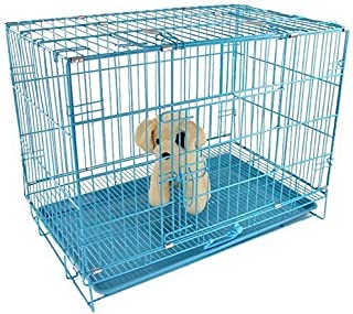 PSK Paws for A Cause Metal Cage with Removable Tray for Dogs/Rabbit Blue 30 Inch Medium