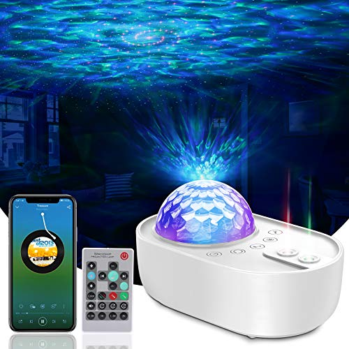 Night Light Projector, Galaxy Projector Light with Nebula Cloud & Ocean Wave, Bluetooth Music Speaker, Star Projector Night Lamp for Baby, Night Light for Kids & Adults, Party/Bedroom/Home Decor/Gift