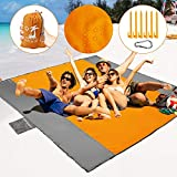 5. POPCHOSE Sandfree Beach Blanket, 83 X78 inches Sandproof Beach Mat for 4 Adults, Waterproof Pocket Picnic Blanket with 6 Stakes, Outdoor Blanket for Travel, Camping, Hiking