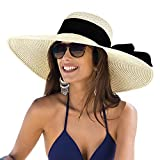Sun Hats for Women, Floppy Wide Brim Beach Hats with UV UPF 50+ Protection Straw Cap Beige