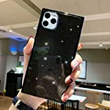 Tzomsze iPhone 11 Pro Max Square Case, iPhone 11 Pro Max Glitter Case Reinforced Corners TPU Cushion,Crystal Clear Slim Shock Absorption TPU Shell-Black …